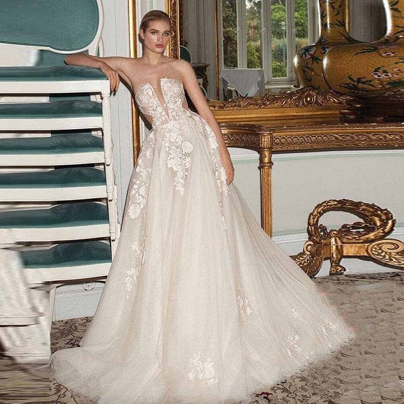 Eightale Boho Wedding Gowns 2019 Strapless Appliques A-Line Tulle Princess Wedding Dress Bridal Dress Vestido De Noiva Sereia