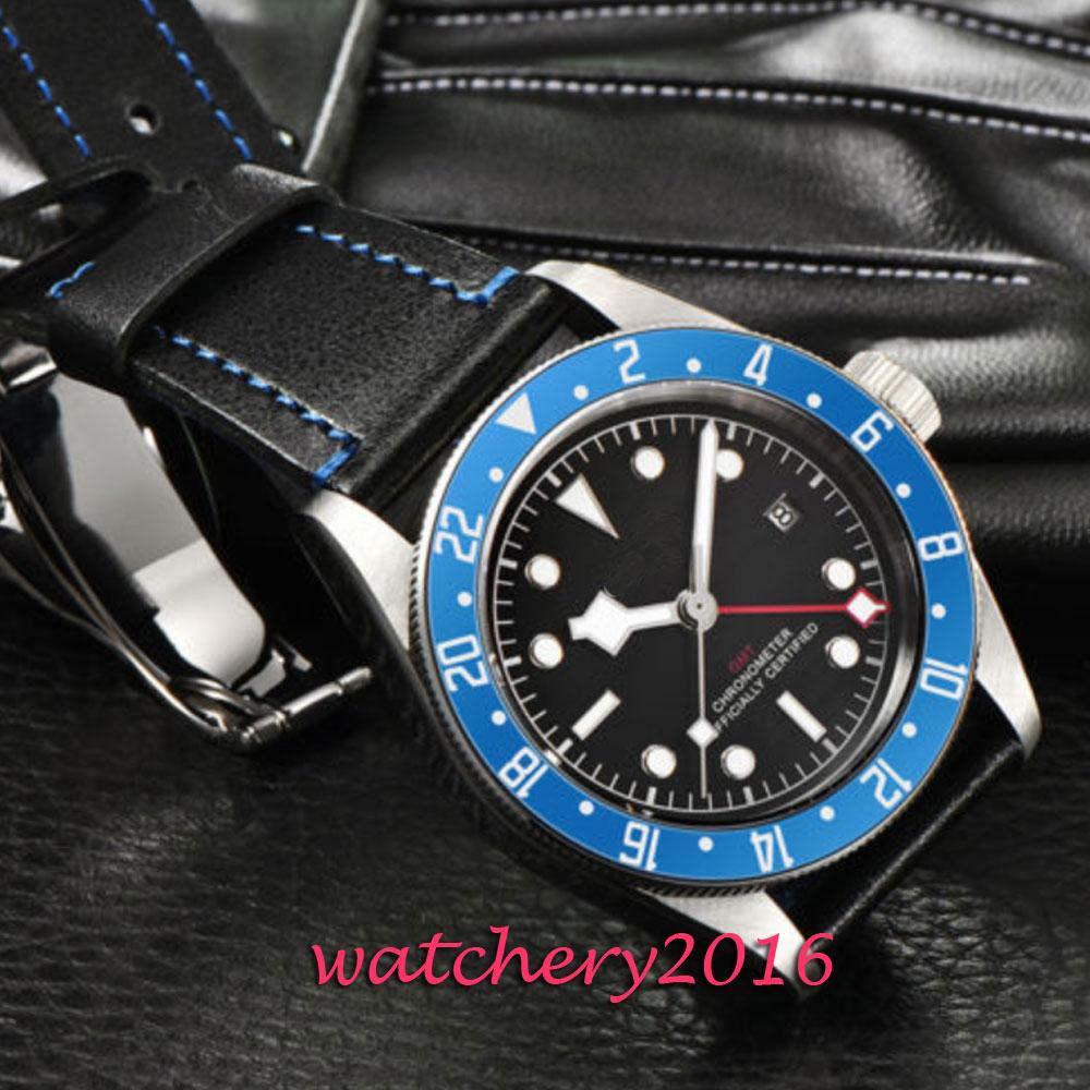 Men Military Watch GMT Wristwatch Luminous Automatic Clock Sport Watch Male relogios masculino Blue Bezel Sport Steel Watch Men цена и фото