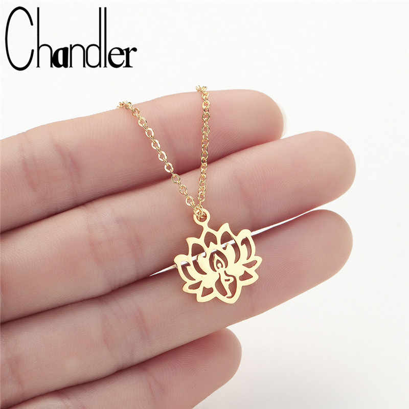 Chandler Yoga Lotus Pendant Necklaces Women Stainless Steel Choker KARMA Buddha Muslim Jewelry India Bijoux Femme Homme Bijoux