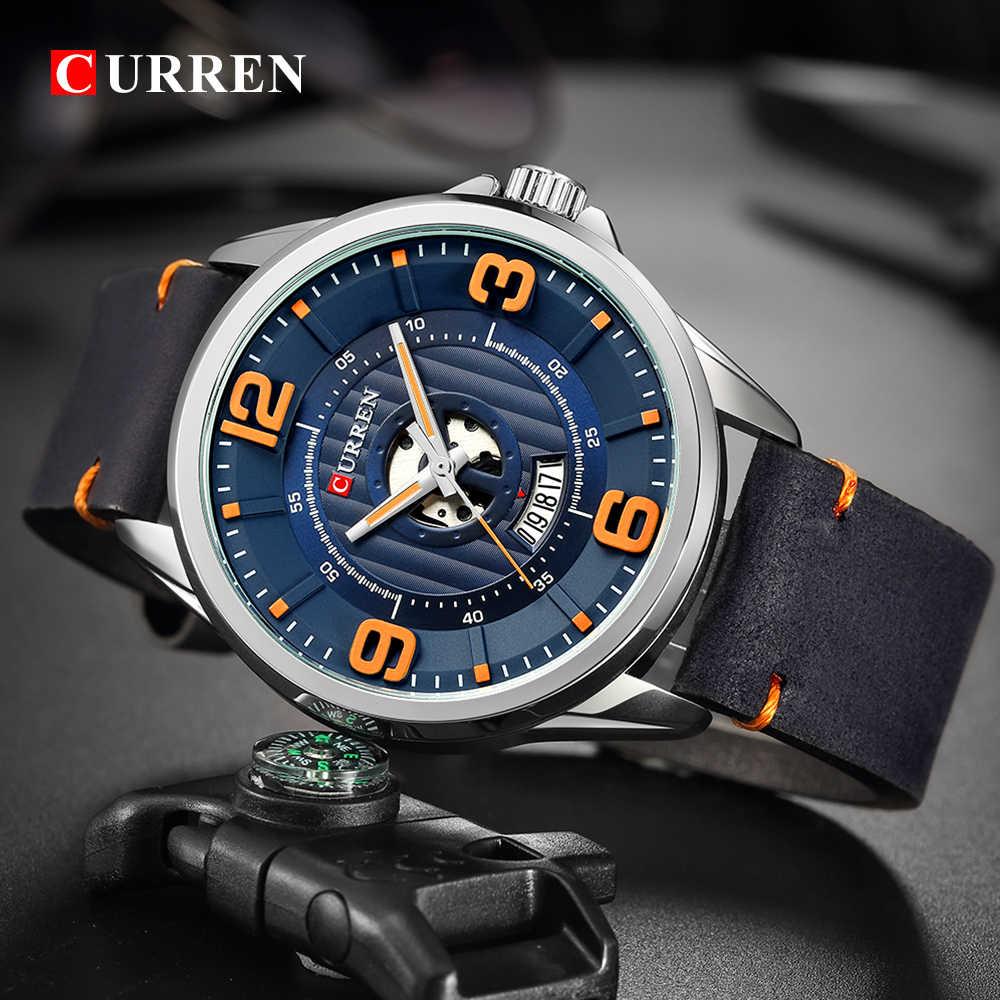 Montres hommes Top marque CURREN montre-bracelet en cuir analogique armée militaire Quartz temps homme étanche horloge mode Relojes Hombre