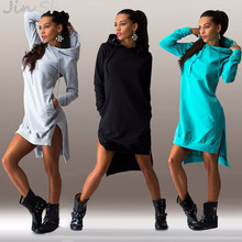 JIN SHE 2016 New Arrival Winter Dress Cotton O-neck Long Sleeve Fashion Casual Style Irregular Solid Hooded Women's Dress