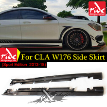 For A-Class W176 Side Skirts Carbon Fiber a180 a200 a250 With AMG Style pacakge A180 A200 A250 A45 Sport Edition Black 13-18