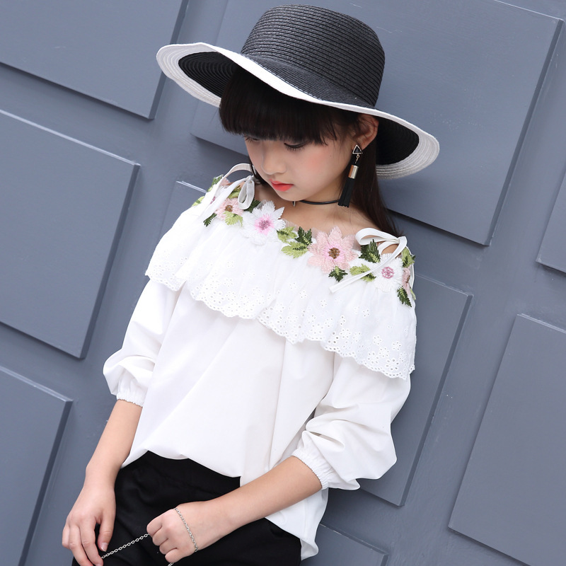 Blouse For Girls Autumn Clothes For Teenagers 8 9 10 11 12 13 Years Slash Neck Flower Girls Blouse White Top Shirt Camisa Xadrez shoulder cut plus size flower blouse