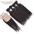 Grade 7a Brazilian Deep Wave Virgin Hair With Closure Free/Middle/3 Part Silk Base Closure Virgin Hair 3 Bundles With Closure