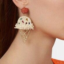 2019 BIg Statement Crystal Cute Cartoon Fashion Women Drop Earrings Gold Punk Dangle Jewelry