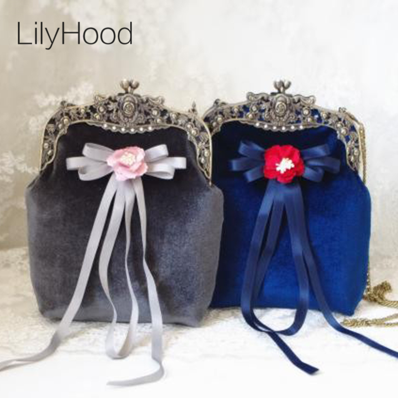 LilyHood Handmade Velvet Retro Shoulder Bag Female Vintage Victorian Baroque Bronze Flower Frame Kiss Lock Funky Messenger Bag