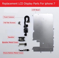Replace LCD Screen of parts For iPhone 7 7 plus LCD display Metal Bezel /Front camera /speaker/ home button flex cable / Screw