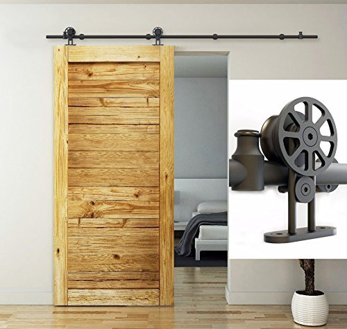 diyhd 7ft black track top mount spoke wheel sliding barn door
