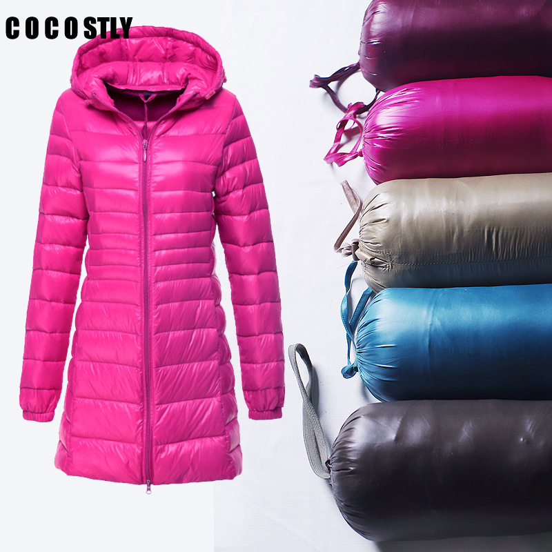 2018 Women Ultra Light Jacket Hooded Women's Winter Jacket Slim Long Sleeve   Parka   Zipper Long Coats Plus Size 6XL