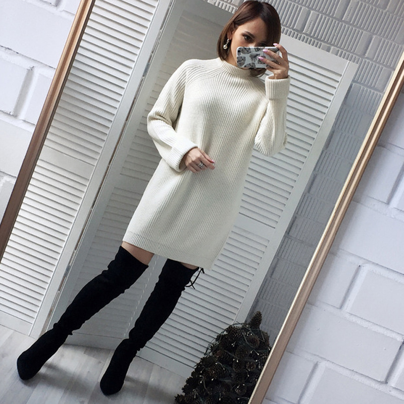 High Quality Autumn Winter Solid Knitted Cotton Sweater Dresses Women Loose O-neck Pullover Dress Vestidos Feminino Jumper