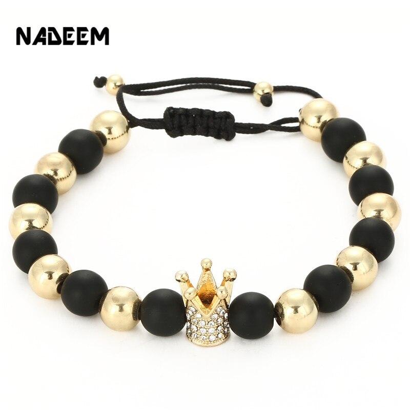 Top Brand Fashion Imperial Gold Crown Charm Men's Bracelet Famous Micro Pave Crystal Bead Trendy Braiding Weave Macrame Bracelet