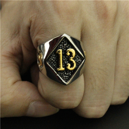316L STAINLESS STEEL LUCKY NUMBER 13 SKULL RING