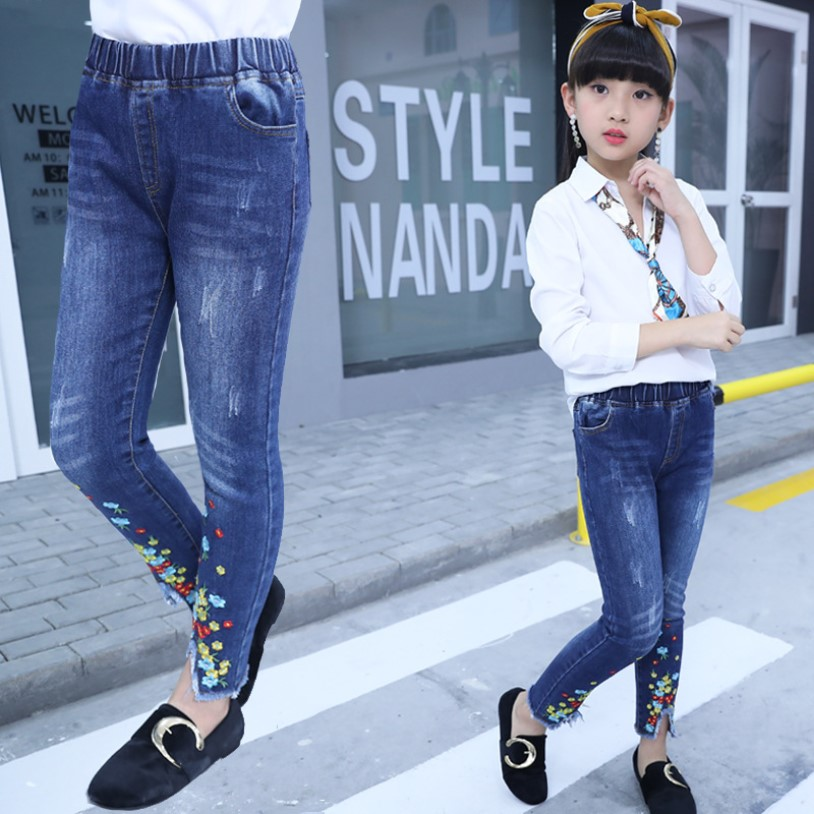 MV Childrens Autumn Clothing New Jeans Girl Korean Hole Cartoon Printed Pants