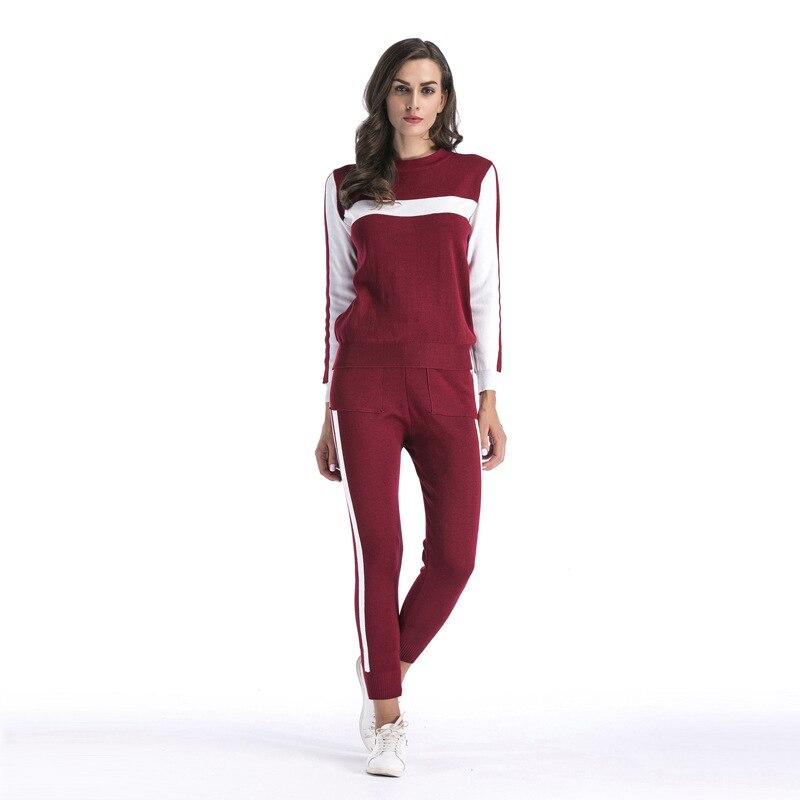 Spring Autumn Women Tracksuits Suit sweatshirt + Pants Two Pieces Set striped red black Casual Sportswear set Track Women Suit