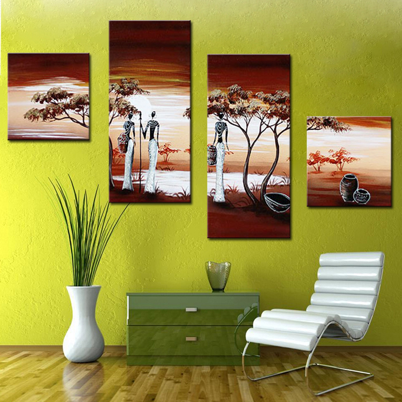 Hand-painted Wall Art Home Decoration african Life Pictures Modern Abstract 4 Piece Oil Painting On Canvas For Living Room