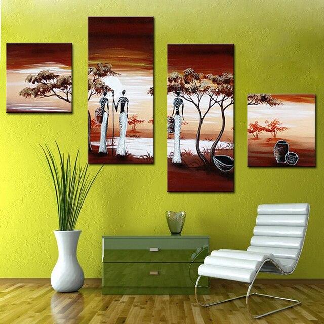 Peint à La Main Mur Art Décoration De La Maison Africaine Vie Photos  Moderne Abstrait 4