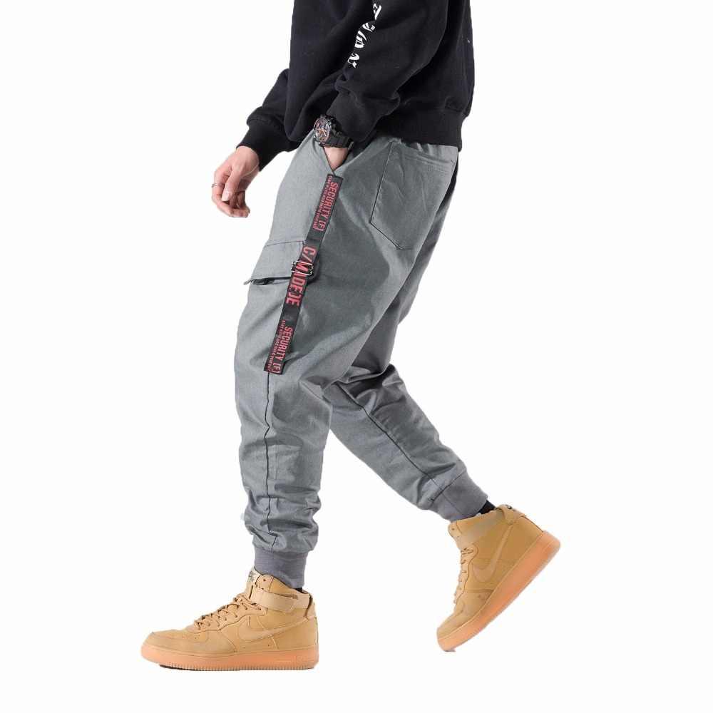 b5c9e898 2018 боковые карманы шаровары мужские серые штаны-карго повседневные мужские  с эластичной резинкой на талии