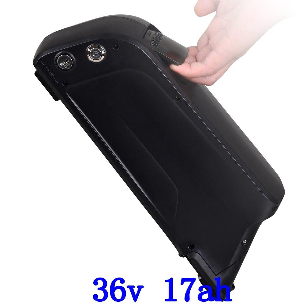 US EU Tax Free 36 v 500 w Vers Le Bas tube vélo batterie 36 v 17AH avec USB Port Utilisation Panasonic 3400 mah cellulaire with15A BMS et 2A chargeur