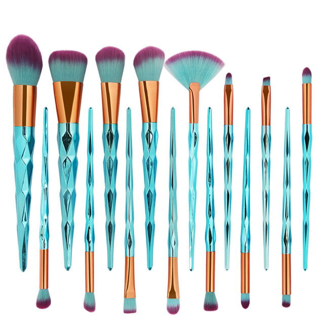 15Pcs Beauty Unicorn diamond Makeup Brushes Set Powder Foundation Eye Shadow Blush Highlighter Function Cosmetics Brush Tool