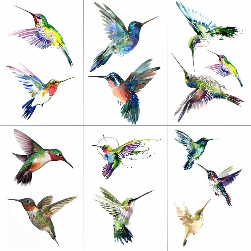 HXMAN Watercolor Hummingbird Temporary Fake Tattoo Body Art Sticker Waterproof Hand Bird Tattoo For Men Hot Design 9.8X6cm A-103