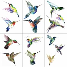 WYUEN Watercolor Hummingbird Temporary Fake Tattoo Body Art Sticker Waterproof Hand for Men Hot Design 9.8X6cm A-103