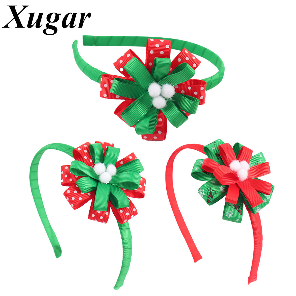 Christmas Gift Red Green Ribbon Headbands for Children Kids Hairband with White Polka Dots Flower Girls Hair Accessories red white polka