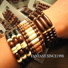 24 шт., винтажные мужские деревянные браслеты с бусинами