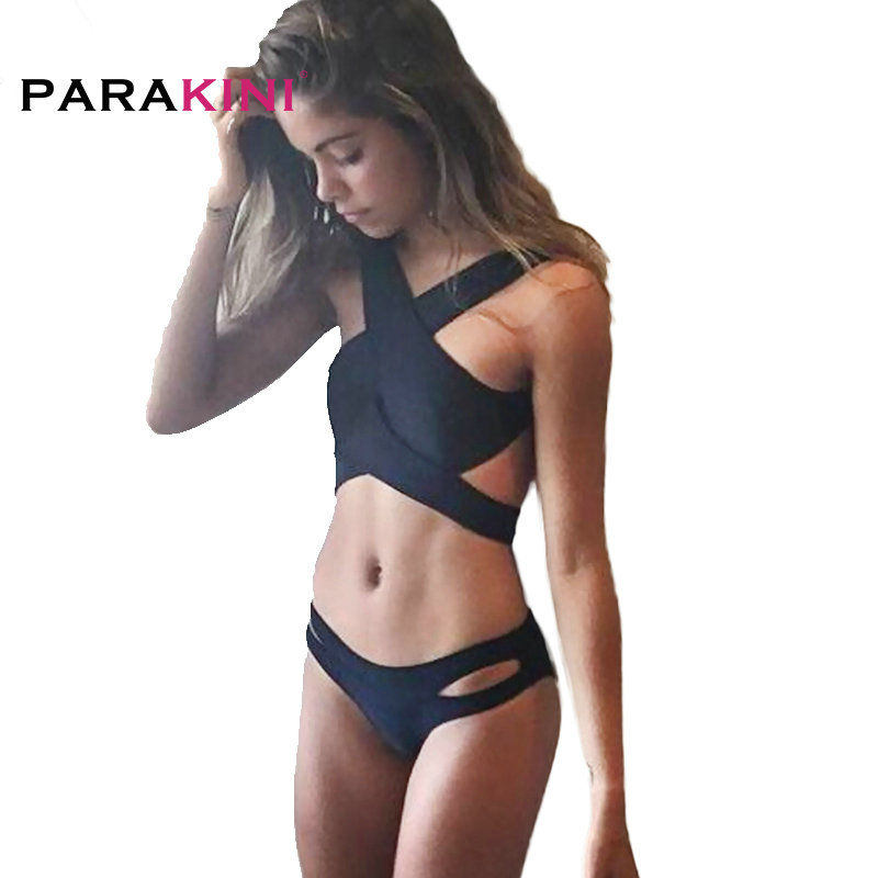 PARAKINI 2017 New Black Sexy Cross Bikinis Set Women Halter Crop Top Swimwear Swimsuit Brazilian Beach Biquinis Bathing Suits new women sexy brazilian bikinis brand beach swimsuit bright colors halter tube