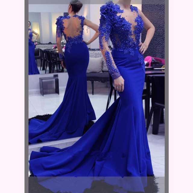 Evening     Dress   Long 2019 Mermaid One Shoulder Bead Flower Full Sleeves Backless Royal Blue Formal Party Prom Gown Robe De Soiree