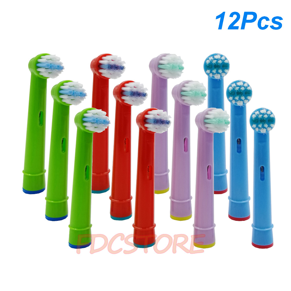 12pcs Replacement Kids Children Tooth Brush Heads For Oral B EB-10A Pro-Health Stages Electric Toothbrush Oral Care, 3D Excel 1