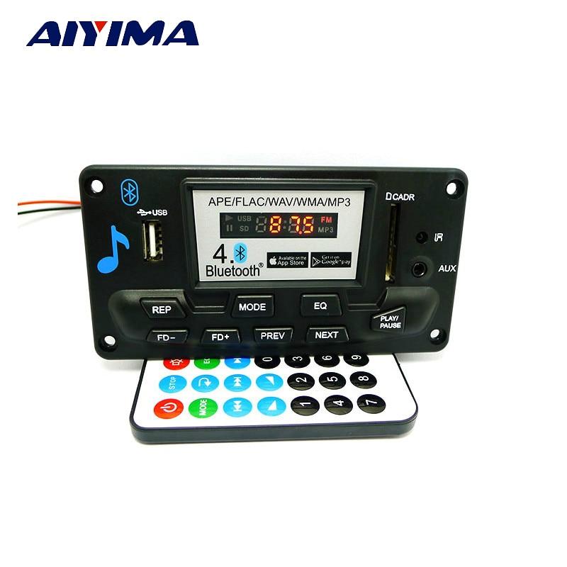 Aiyima High Quality MP3 WAV WMA APE Bluetooth 4.0 Audio Decoder Board With Recording 12V lson 12v mp3 wma decode bluetooth amplifier board green black