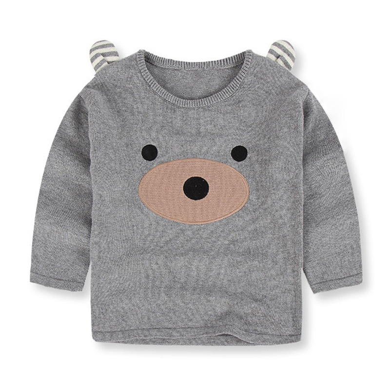 Spring autumn boy sweater printing and bear ear baby bear design cartoon children s sweaters warm