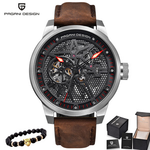 Image 1 - Pagani Skeleton Tourbillon Mechanical Watch Men Automatic Classic Leather Waterproof Wrist Watches Reloj Hombre Mens Gift 2019