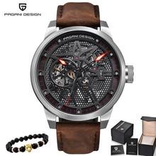 Pagani esqueleto tourbillon relógio mecânico masculino automático clássico couro à prova dloágua relógios de pulso reloj hombre presente dos homens 2019