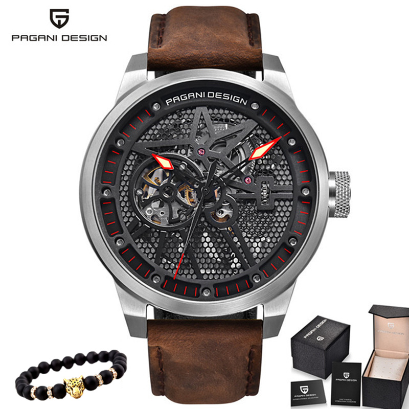 Pagani 스켈레톤 뚜르 비옹 기계식 시계 남자 자동 클래식 가죽 방수 손목 시계 reloj hombre mens gift 2019-에서기계식 시계부터 시계 의  그룹 1