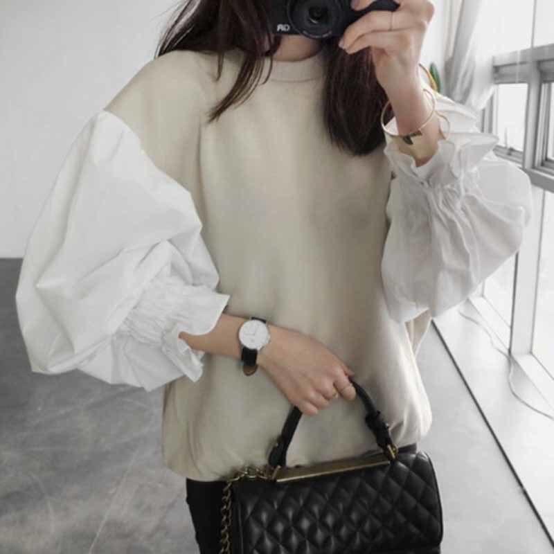 [GUTU] 2017 automne De Mode Nouveau Col Rond Lanterne Manches Femmes Commune Fendue de Court Sweat Japon et Corée Du Sud tops 298B3