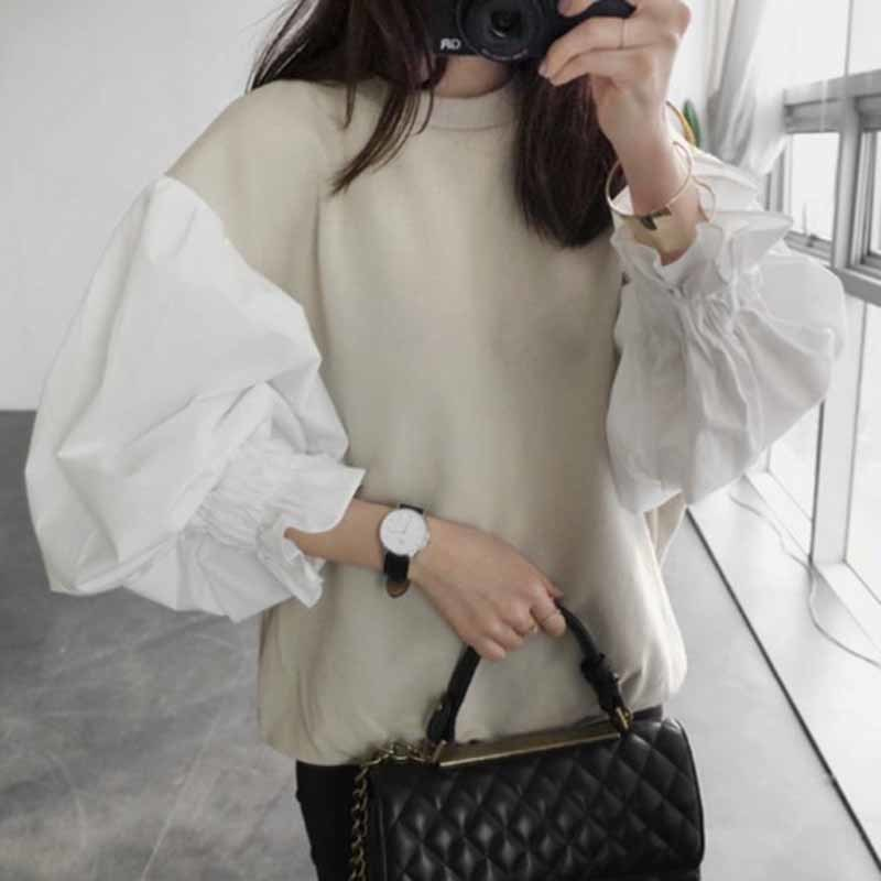 LANMREM 2018 Autumn Fashion New Round Neck Lantern Sleeve Women's Split Joint Short Sweatshirt Japan And South Korea Tops 298B3