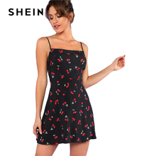 SHEIN Allover Cherry Print Cami Dress Women Spaghetti Strap Sleeveless Zipper Weekend Casual Dress 2018 Loose Short Dress