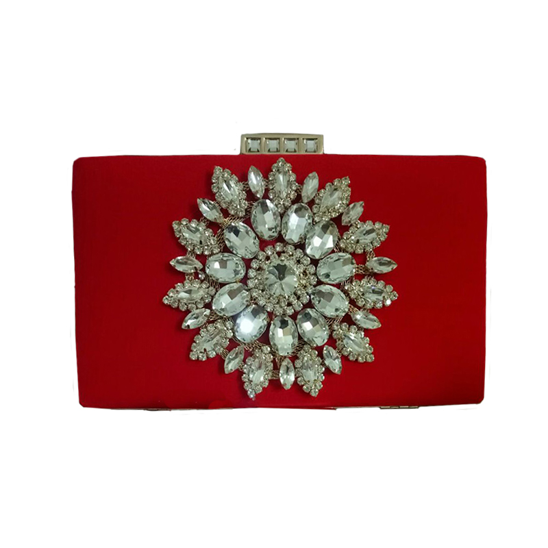 Big Rhinestone Flower Evening bags red Black clutch bag China ...