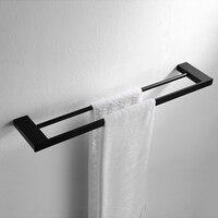 Auswind европейской классической двойной полотенце бар черный цвет 304 нержавеющая сталь, площадь основания вешалка для полотенец стену ванной