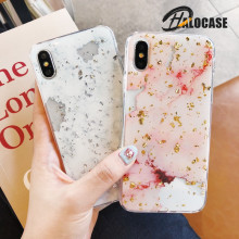 Halocase Luxury Gold Foil Glitter Bling Marble Stone Phone Case For iPhone XS MAX XR X10 7 8 6 6S Plus Glossy Soft TPU Cover