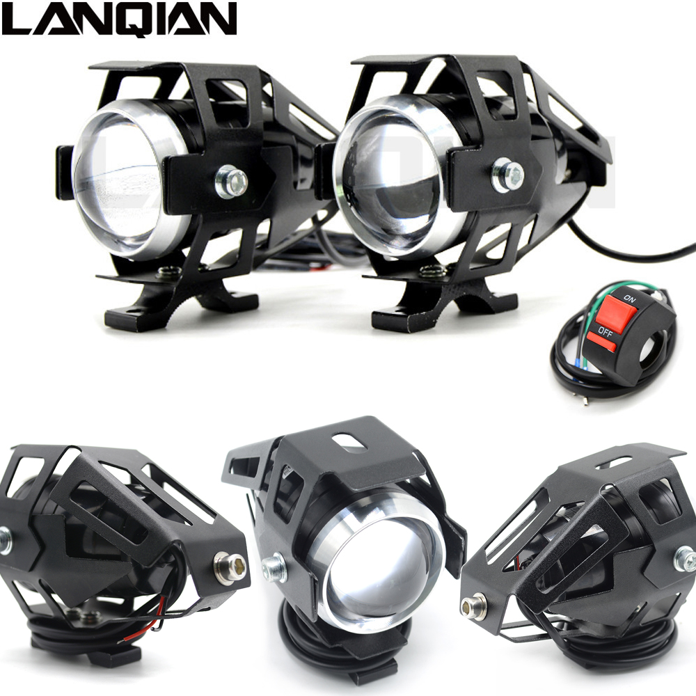Universal 2 piezas 125 W motocicleta LED faro 3000LMW chip U5 Moto conducción Spotlight Street Moto niebla Spot cabeza Luz lámpara