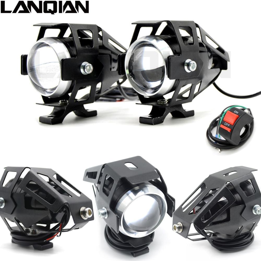 Universel 2 pcs 125 w Moto LED Phare 3000LMW puce U5 Moto Spotlight Conduite Rue Moto Brouillard Spot Head Light lampe