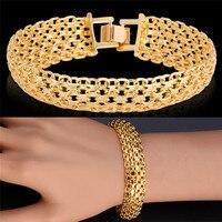 Bangles Bracelets Fashion New Vintage Chunky Cuff Bracelet 18K Gold Plated Jewelry For Women Man High