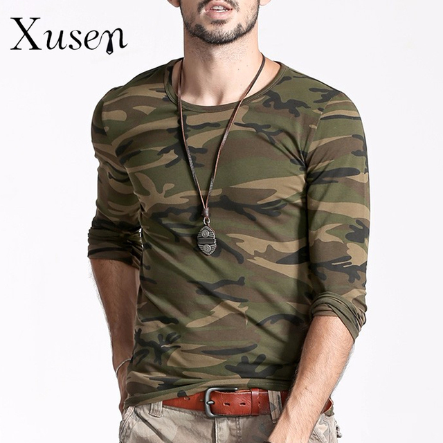 T Shirt Men 2017 New Printed Camouflage T-shirt Summer Fashion Man Cotton Clothing Long Sleeve Army Green T-shirt Fashion Tees