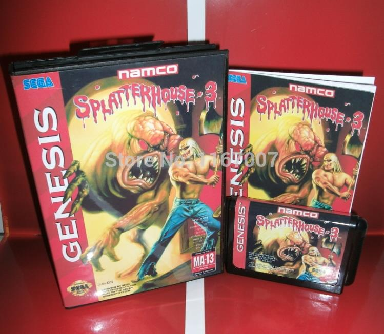 Splatter House Part 3 Genesis Cover with Box and Manual for Sega MD game Cartridge Megadrive