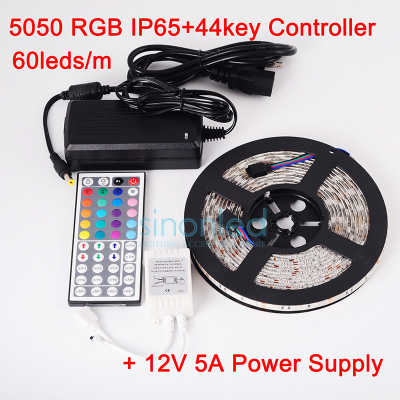 ФОТО Waterproof 5050 RGB LED Strip 5M 300 Led SMD 44 Keys IR Remote Controller 12V 5A Power Adapter Flexible Light Free Shipping
