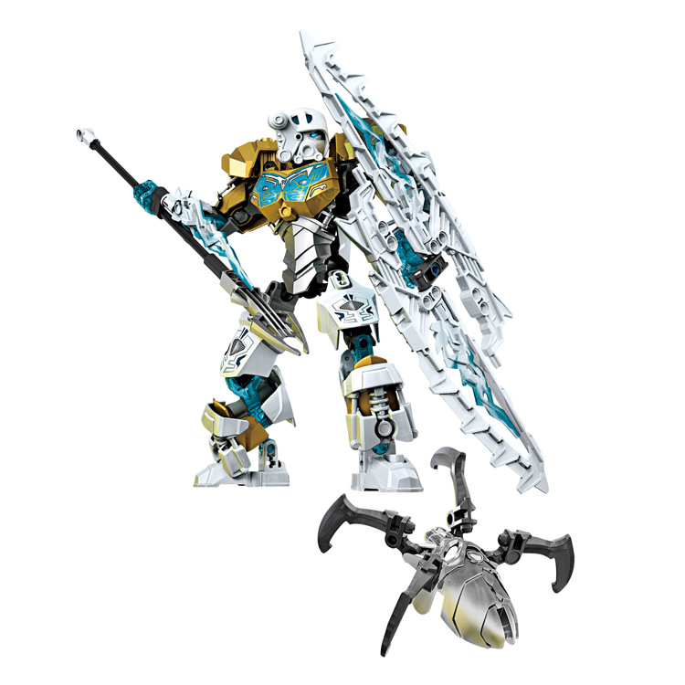 BionicleMask of Light XSZ 708-2 Children's Kopaka Master Of ICE Bionicle Building Block Compatible with 70788 Toys a toy a dream new bionicle mask of light xsz 708 serieschildren s kopaka monster of ice bionicle building block toys