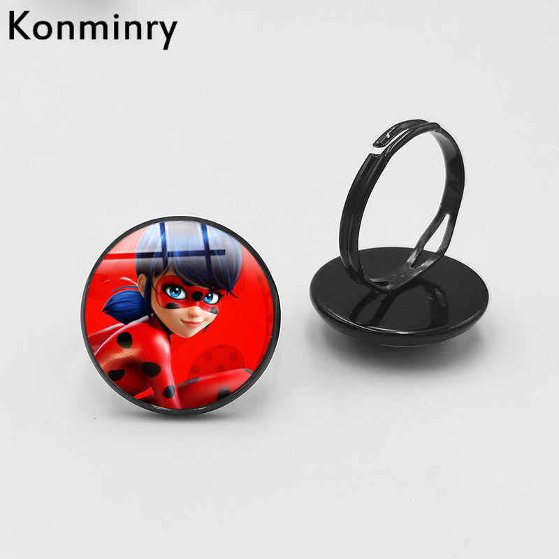 cute Ladybug Black Plated Rings Cute Round Glass Dome Lady Bug Girl Cartoon Figure Christmas Gift Ring Konminry Jewelry