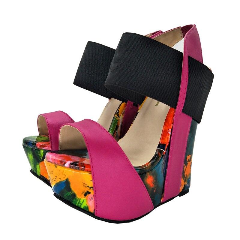 Cuñas De Abierto Del D0835 4 Hermoso Plataforma Mujer Dedo Nos Plus Tamaño Fiesta 10 Agradable Sandalias Zapatos Alto Yifsion Mujeres Las Multicolor 5 Tacón Pie XqwnvAAIzx